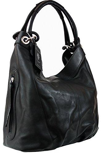 63c86bf68c2e5 Sa-Lucca echt Leder Handtasche Damentasche Shopper Beuteltasche Ledertasche  schwarz 486528 MADE IN ITALY  Amazon.de  Bekleidung