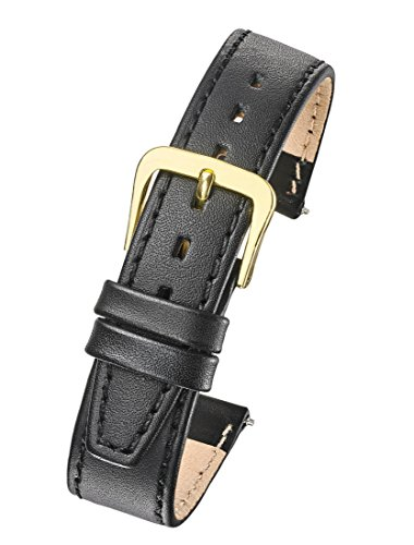 (Genuine Leather Watch Band - Flat Stitched Calf Leather Watch Strap 12mm -)