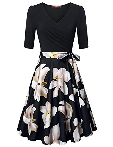 Gaharu Cocktail Dresses for Women Deep V Neck 3/4 Sleeve Dress Unique Cross Wrap Casual Floral Midi Dress Fit and Flare Graduation Women Dress with Belt Multicolor Black,M