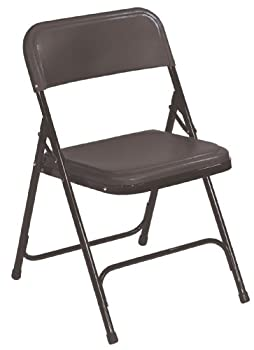National Public Seating 800 Series Steel Frame Premium Light Weight Plastic Seat & Back Stacking Folding Chair With Double Brace, 480 Lbs Capacity, Black (Carton Of 4) 0