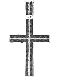 1.00 Carat Mens Black & White Micro-Pave Diamond Cross Pendant