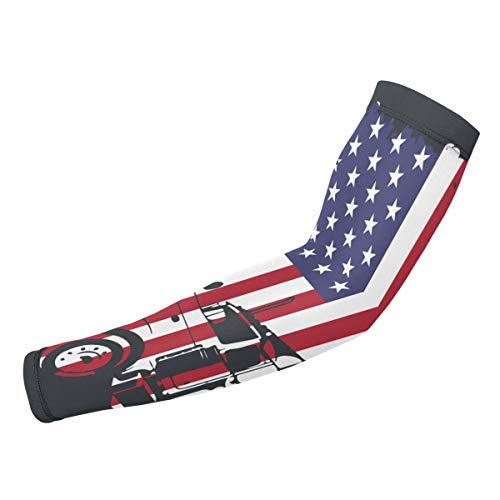 (J122 Truck Driver American Flag Unisex Sunscreen Arm Guard Suitable for Motion Football(1 Pair))