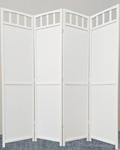 Legacy Decor 4-Panel Screen Room Divider Solid Wood White Finish
