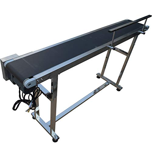 TECHTONGDA PVC Flat Conveyor Belt Systems for Industrial Transport Single Guardrail Conveyor Length 59inch Belt Width 8inch