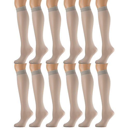 Lycra Opaque Stockings - 6 Pairs Pack Women Knee High Trouser Socks Opaque Stretchy Spandex (Many Colors) (Silver)