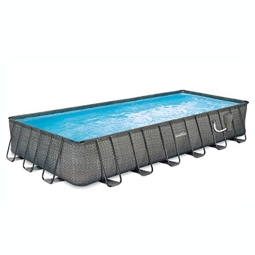 Summer Waves 24ft x 12ft x 52in Above Ground Rectangle Frame Pool Set, Dark Wicker with SFX1500 SkimmerPlus 110/120V Filter Pump, Pool Cover, Ladder, and Ground Cloth