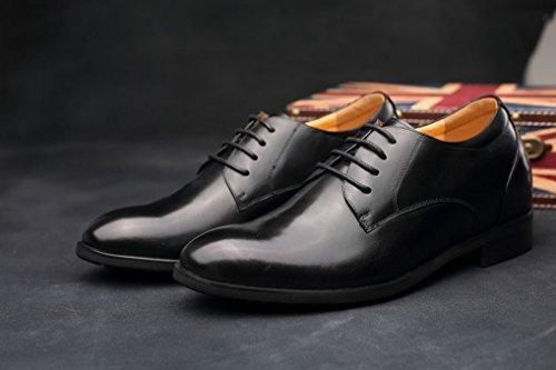 CHAMARIPA Chaussure à Talonnette Grandissante Hommes en Cuir Noir Soulier Rehaussante Formal Shoes 7,5 cm Plus grand-DX70H106S