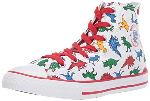 Converse Boys Kids' Chuck Taylor All Star Dinoverse High Top Sneaker, White/Enamel Red/Totally Blue 1.5 M US Little ()