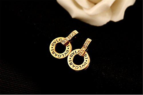 P.phoebus 18K Yellow Gold Plated Vintage Swarovski Crystal Studs Earrings Rhinestones Dangle Charms Hoops for Women Girls - Logo Earrings Crystal
