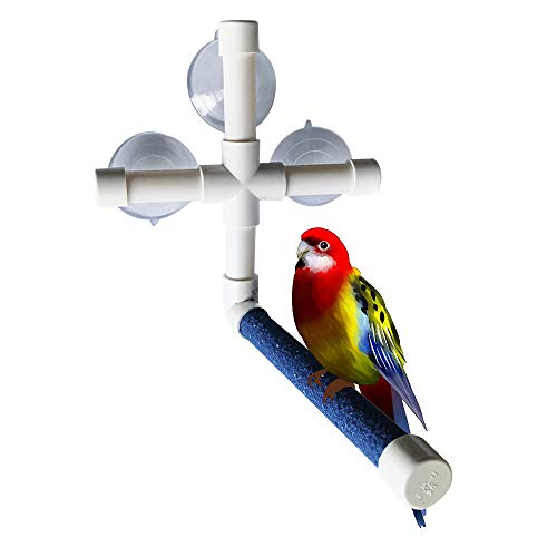 (BLSMU Parakeet Bath Perch,Shower Perch,Parakeets Bird Bath Standing Platform,Suction Cup Window Basking,Bird Play Stand for Parrots Sunlight Toy Suitable for Parakeet,Cockatiel,Budgies)
