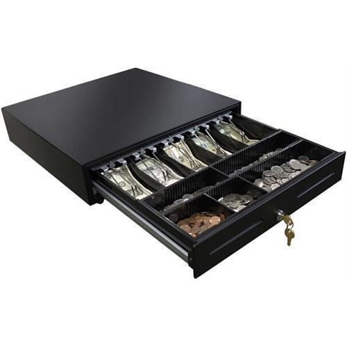 Adesso MRP-CD18 18'' POS Cash Drawer With Removable Cash Tray - 5 Bill - 5 Coin - 2 Media Slot - 3 Lock Position - Steel, Stainless Steel - 3.9'' Height x 18'' Width x 18'' Depth by Adesso