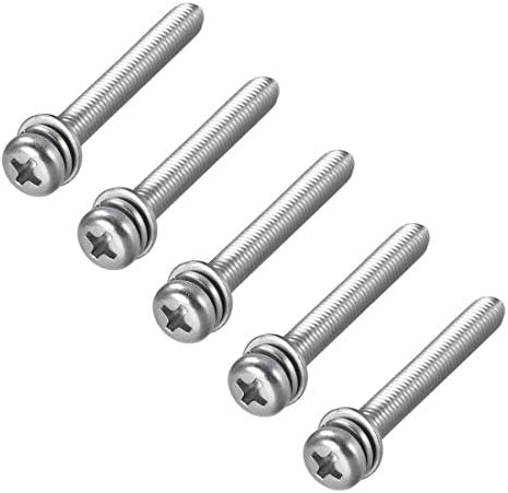 uxcell M3 x 50mm 304 Stainless Steel Phillips Pan Head Screws Nuts w Washers 15 Sets