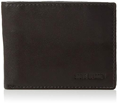 Steve Madden Men's Leather RFID Blocking Wallet with Extra Capacity ID Window, Brown, One Size