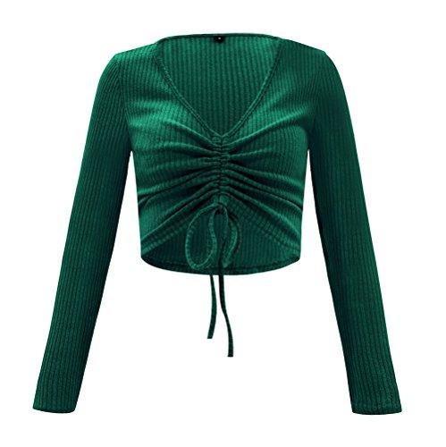 Slim Shirts Shirts Unie Vert Jumper Col Casual Blouse et Femmes Pulls Tricots Couleur V Hauts Court Legendaryman Tops Mode Automn Crop Manches T Printemps Chandail Longues 4AqPwYn6S