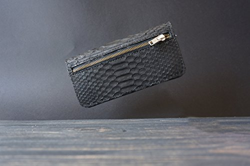 Leather portmone wallet and python snakeskin exterior lining. Full grain vegetable tanned leather interior lining. Personalized with your name or initials by Primal Store