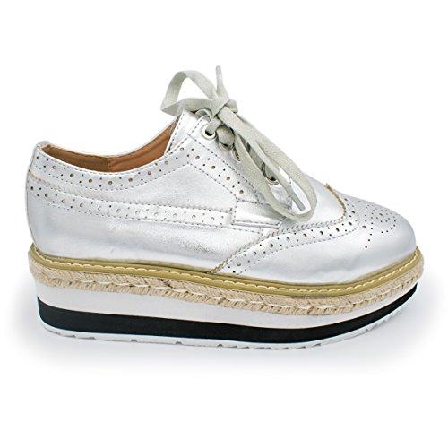 up Shoe Nature Breeze Lace Flatform Oxford Ts Rope Women's Wingtip Metallic Silver Platform zxgHz