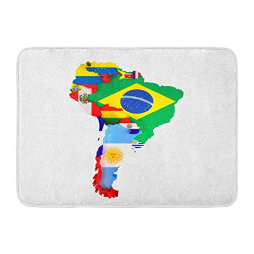 Puyrtdfs Doormats Bath Rugs Outdoor/Indoor Door Mat Colorful Latin South America Map Countries and Capital Cities Flag American Bathroom Decor Rug 16