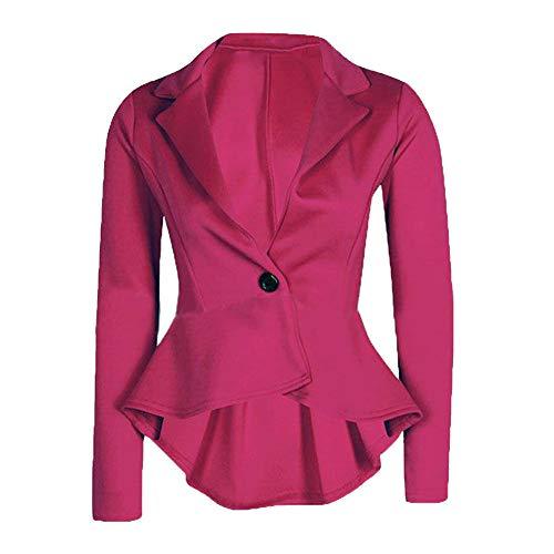 Beikoard Abiti da Sposa Cappotto per Giacca da Donna in Peplum Slim Fit Shorts Slim Fit da Donna(,) Hot Pink