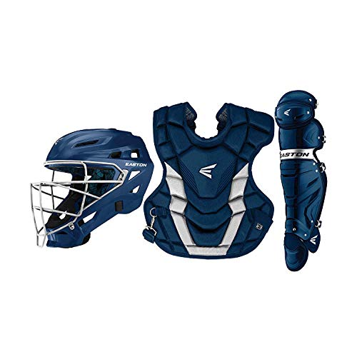 EASTON GAMETIME Baseball Catchers Equipment Box Set | Intermediate | Navy | 2020 | Large Helmet | 16 in Chest Protector + Commotio Cordis Foam | 15.5 in Leg Guards | Steel Cage | NOCSAE Approved