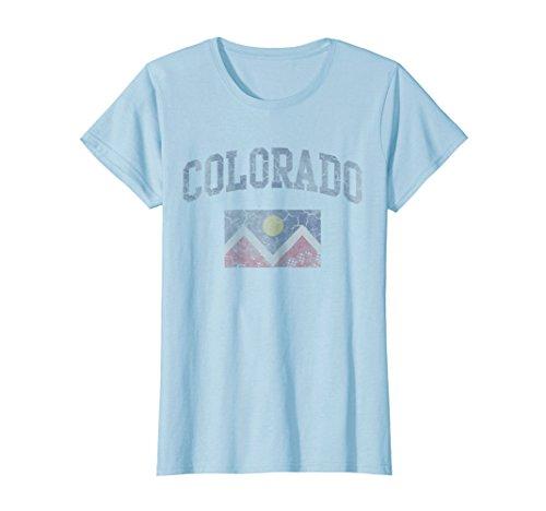Womens Retro Denver Flag Colorado T Shirt Large Baby Blue
