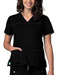 Adar Pop-stretch Junior Fit Taskwear Scrub Top - 3202 - Black - S