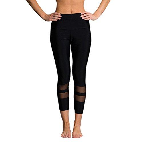 HARRYSTORE Simple Mujeres Alta Cintura Deportes Gimnasio Yoga Correr Leggings Fitness Pantalones Ropa de Entrenamiento Negro