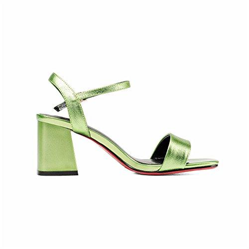 SHINIK cuero Zapatos el Sandalias Rosa Club grueso Zapatos de Verde Do tacón vestido verano para de de Plata mujer de IIrn8