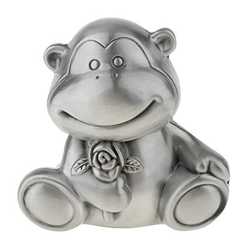 (B Blesiya Cute Cartoon Animal Monkey Shape Coin Bank Storage Box Home Decor Kids Toy - Small Silver, as described)