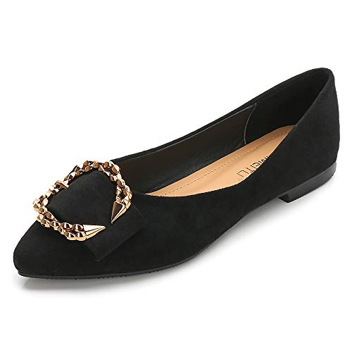(Meeshine Womens Classic Pointy Toe Ballet Flats Slip On Suede Flat Shoes Black-04 US 6)
