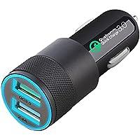 Rekuopl QC3.0 mobiele telefoon auto oplader 2.4A dual USB auto lader auto lichten opladen hoofd -zwart