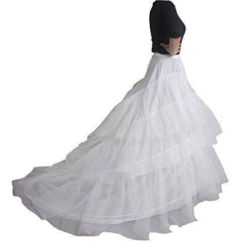 XYX Sottogonna sposa Sottogonna sottoveste da sposa Vestito da sposa crinoline Hoopless sottoveste rockabilly sottoveste di nozze trascinamento lungo BIANCO XS-M …
