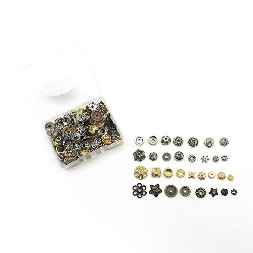 HANYAN 400 PCS Spacer Beads Metal Spacers Tibetan Silver,Gold,Bronze Mixed Alloy Jewelry Findings Accessories 6-8 mm Mixed Bead end Caps for Jewelry Makeing