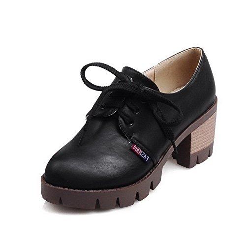 À Chaussures Rond Noir Souple Matière Légeres Correct Talon Unie Femme  Agoolar Lacet Couleur 5CWnaUEnq 47d322647aa