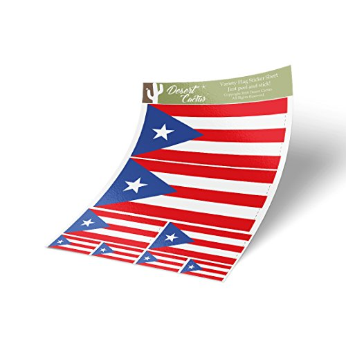 (Puerto Rico State Flag Sticker Decal Variety Size Pack 8 Total Pieces Kids Logo Scrapbook Car Vinyl Window Bumper Laptop V)