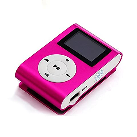 Mandy Mini USB Clip MP3 Player Support 32GB Micro SD TF Card Hot Pink