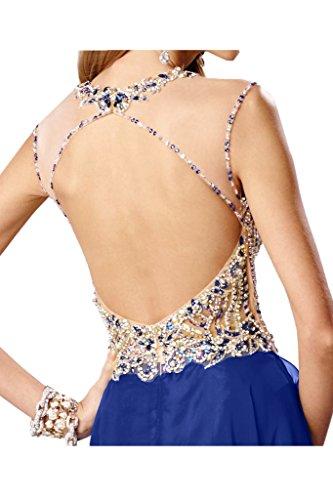 Festkleid Ivydressing Promkleid Royalblau Chiffon Damen Rundkragen Rueckenfrei Steine Partykleid Modisch Abendkleid 0Xr08vUnx
