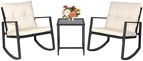 BonusAll Outdoor 3 Pieces Patio Furniture Bistro Set Black Wicker, 2 Rocking Chairs with Coffee Table Beige Cushion