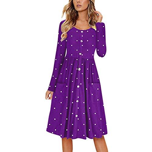 Dot O Neck Button Long Sleeve Dress Women Pocket Casual Beach Long Maxi Dress Purple