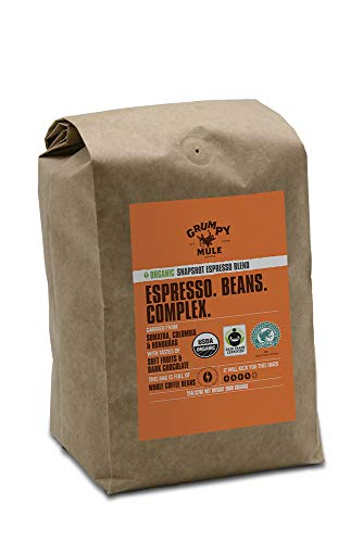 Grumpy Mule Organic Snapshot Espresso Whole Bean Coffee - 2 pounds (907 grams). Fair Trade and Rainforest Alliance Certified from Sumatra, Colombia and Honduras.