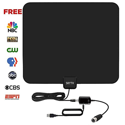 HDTV Antenna, SKYTV Indoor Amplified Digital TV Antenna 50 Mile Range with Detachable Amplifier Signal Booster, USB PowerSupply and 13.2FT Coax Cable - Upgraded Version with Better Reception