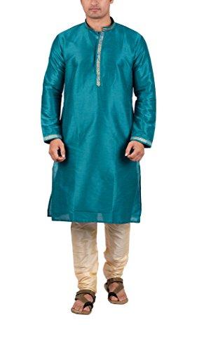 Maharaja Mens Raw Silk Festive Kurta Pyjama Set in Sea Green - Traditional Kurta