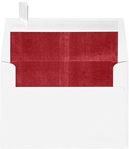 A4 Foil Lined Invitation Envelopes w/Peel & Press (4 1/4 x 6 1/4) - White w/Red LUX Lining (50 Qty.) (Red White Lined Envelope)