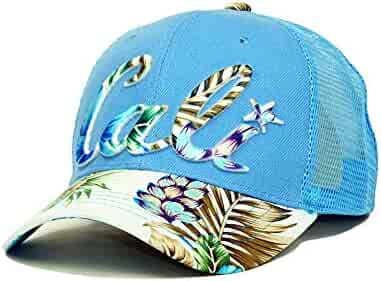 1280c3221b60e Cali Hawaiian Embroidery Mesh Hat Adjustable California Summer Baseball Cap