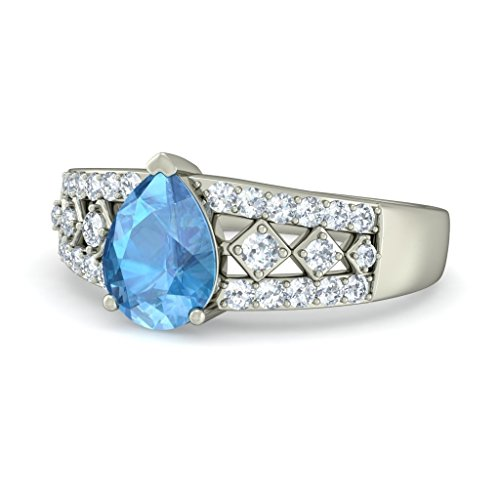 14K Or blanc, 0,23carat Diamant Blanc (IJ | SI) Topaze bleue et diamant Bague