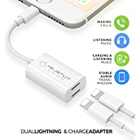 iPhone 7 Adapter & Splitter, Dual Lightning Headphone Audio & Charge Adapter for iPhone 7/7 Plus, iPhone 8/8 Plus, iPhone X