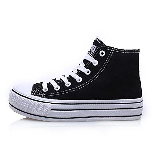 Zapatos de lona/Zapatos de mujer/Zapatos de plataforma de fondo grueso/Zapatos del tablero/Cordones zapatillas superior alto/escoge los zapatos/Calzado transpirable D