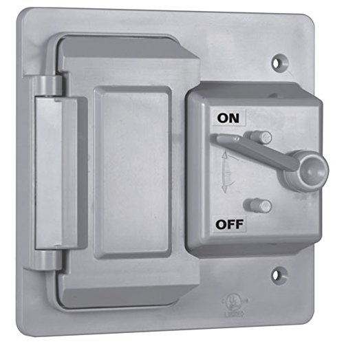 Hubbell-Bell PTC521GY Weatherproof Vertical Nonmetallic Cover, 1-Toggle, 1-GFCI, 2-Gang, Gray
