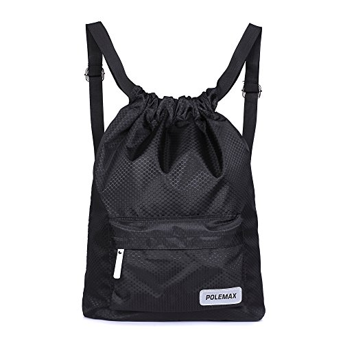 - Polemax Waterproof Gym Swimming Drawstring Backpack Adjustable Dry and Wet Compartment Sport Equipment Bags with Reflection Logo Design for Adults Women Men Kids (Black)