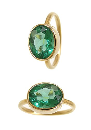 Oval Gemstone Stackable Ring - Green Hydro Qtz Rings - Oval Gold Plated Sterling Silver Rings - Stackable Bezel Gemstone Rings