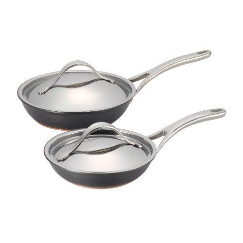 Anolon Nouvelle Copper Stainless Steel 8-1/2-Inch and 10-Inch Cookware Lids